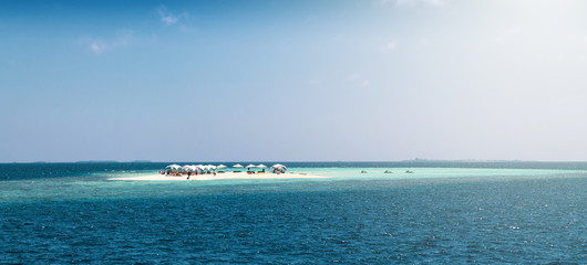 Strip of sand in the Maldives.