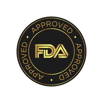 FDA Approved (Food and Drug Administration) icon, symbol, label, badge, logo, seal. Golden and black.