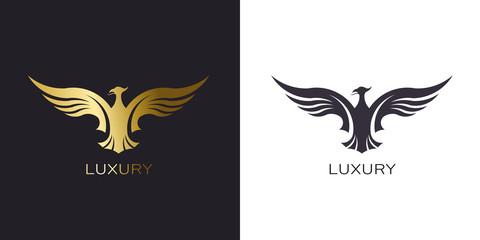 Phoenix Gold Rising Logo stylized golden firebird