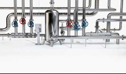 Industrial Pipes with Boiler and Valves. Industrial Concept. 3D illustration