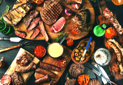 Assorted delicious grilled meat with vegetables