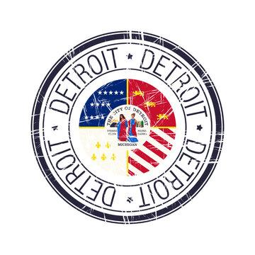 City of Detroit, Michigan vector stamp