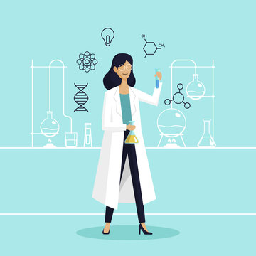 Female scientist in lab checking chemical reaction from beaker vector illustration. International Day of Women and Girls in Science poster background.