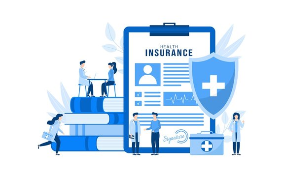 Health insurance vector illustration concept isolated. Huge health insurance form on clipboard. People patients and doctors with first aid kit, stethoscope, xray in medical clinic, hospital.