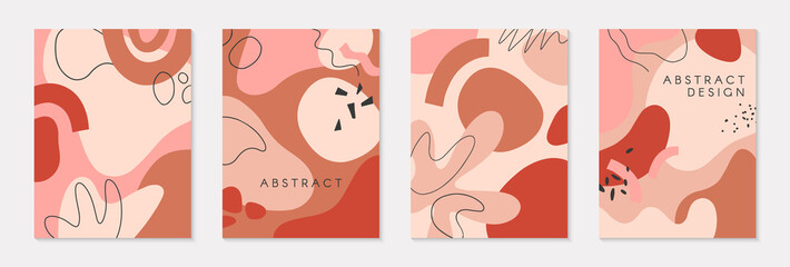 Set of modern vector illustrations with hand drawn organic shapes and textures in pastel colors.Trendy contemporary design perfect for prints,flyers,banners,invitations,branding design,covers and more Fototapete