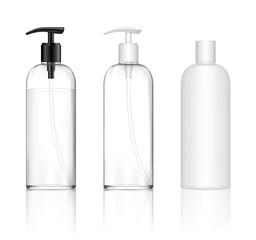 Cosmetic transparent plastic bottle with dispenser pump. Skin care bottles for shower gel, liquid soap, lotion, cream, shampoo, bath foam. Beauty product package. Vector illustration.