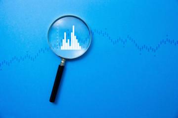 lente di ingrandimento, analizzare, investimento, economia, finanza