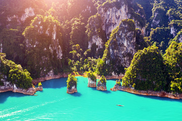 Wall Mural - Aerial view of Beautiful mountains in Ratchaprapha Dam at Khao Sok National Park, Surat Thani Province, Thailand.