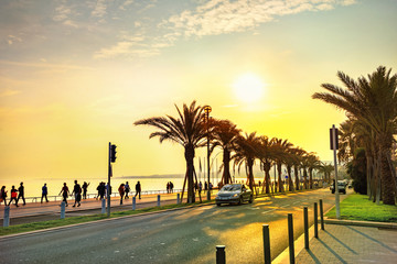 Promenade des Anglais in Nice at sunset. Cote d'Azur, French riviera, France