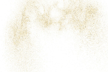 Gold Glitter Texture Isolated On White. Amber Particles Color. Celebratory Background. Golden Explosion Of Confetti. Design Element. Digitally Generated Image. Vector Illustration, Eps 10.