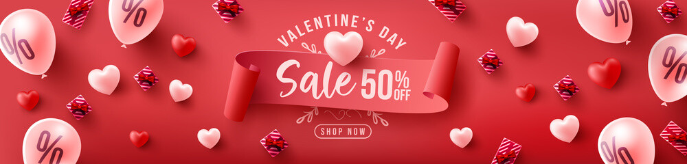 Valentine's Day Sale 50% off Poster or banner with sweet hearts and sweet gifts on red background.Promotion and shopping template or background for Love and Valentine's day concept