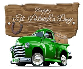 Papiers peints Cartoon voitures Vector Saint Patrick's retro cartoon beer pick-up