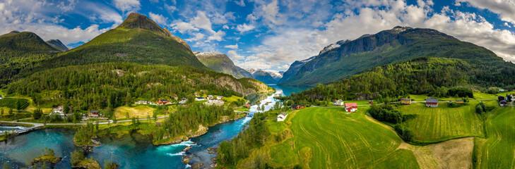 Wall Murals Northern Europe Panorama lovatnet lake Beautiful Nature Norway.