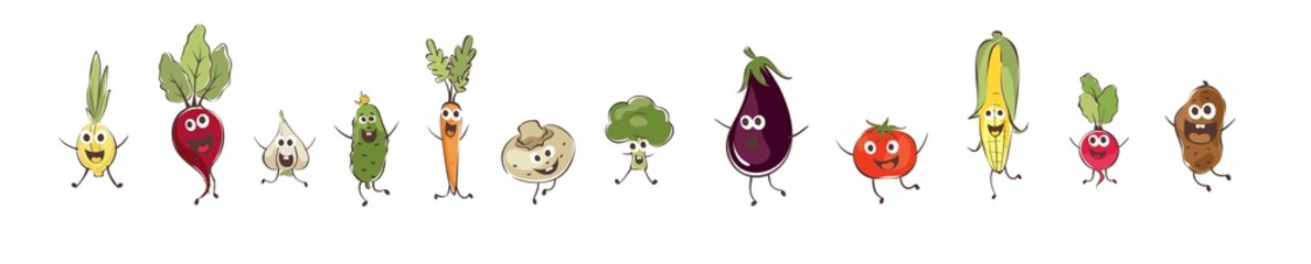 Funny cartoon vegetables. Set vector illustrations with different comic vegetables