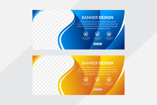 Set of blue and yellow gradient vector horizontal web banners with place for photo. Design A standard size template for business and advertising with a gradient background. curve shape style.