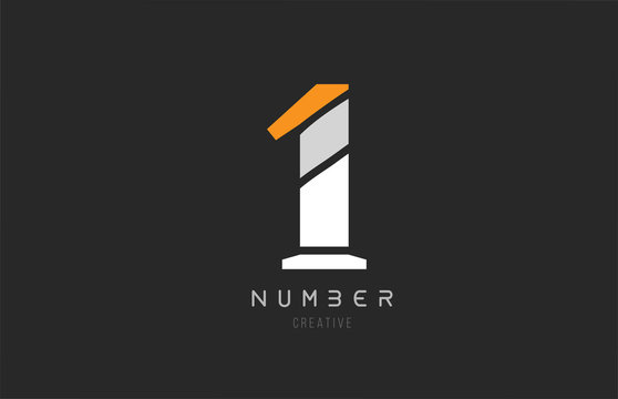 number 1 one for company logo icon design in grey orange and white colors