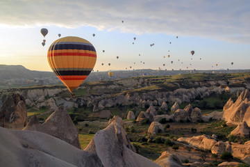 Poster Marron chocolat Air baloons flying at sunrise in Cappadocia
