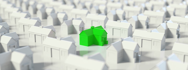 Obraz Green and white house, Hunting, searching and choosing new house minimal concept. Panoramic banner, 3D Rendering - fototapety do salonu
