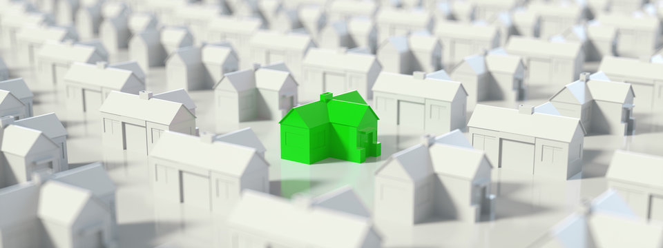 Green and white house, Hunting, searching and choosing new house minimal concept. Panoramic banner, 3D Rendering