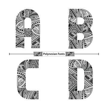 Alphabet Polynesian style in a set ABCD