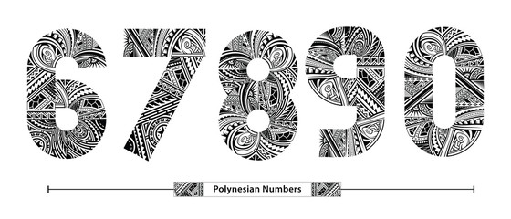 Numbers Polynesian style in a set 67890