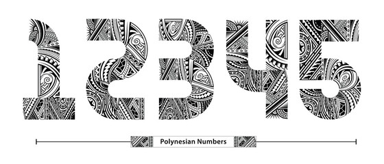 Numbers Polynesian style in a set 12345