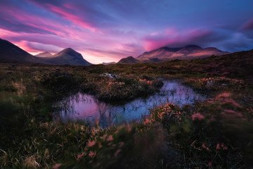 View of Cuillin Hills during sunset