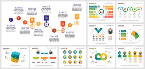 Colorful planning or strategy concept infographics set