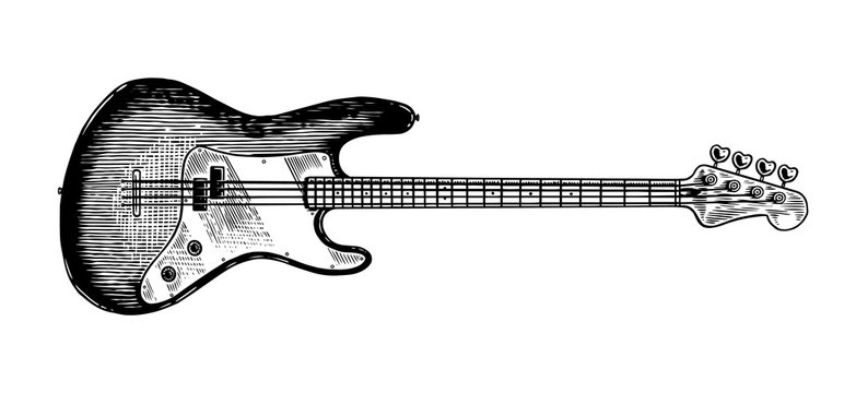 Electro bass guitar in monochrome engraved vintage style. Hand drawn sketch for Rock festival or blues and ragtime poster or t-shirt. Musical jazz classical stringed instrument.