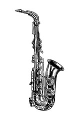 Jazz saxophone in monochrome engraved vintage style. Hand drawn trumpet sketch for blues and ragtime festival poster. Musical classical wind instrument.