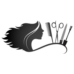 Beauty salon hairstyle and manicure silhouette for business