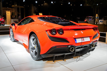 BRUSSELS - JAN 9, 2020: Ferrari F8 Tributo sports car showcased at the Brussels Autosalon 2020 Motor Show.