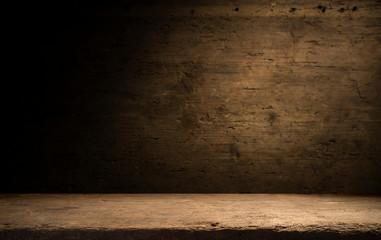 wood brown grain texture, dark wall background, top view of wooden table Fototapete
