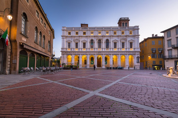 Beautiful architecture of the Piazza Vecchia in Bergamo at dawn, Italy