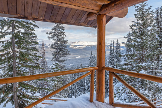 Winter view from Lake Agnes lookout in Banff National Park, Alberta, Canada