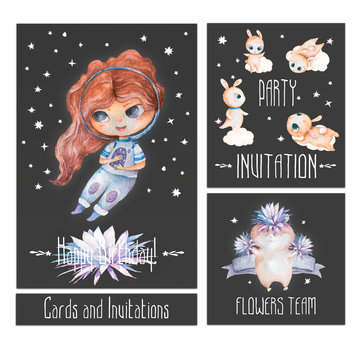 Astronaut cartoon girl flying in the space with a futuristic rocket and satellites around stars and planets. Baby shower, invite for party set and birthday card for little princess.