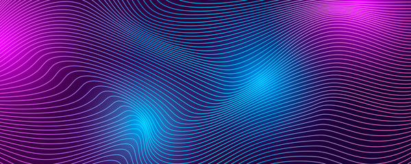 Fotobehang Abstract wave Tech background with abstract wave lines.