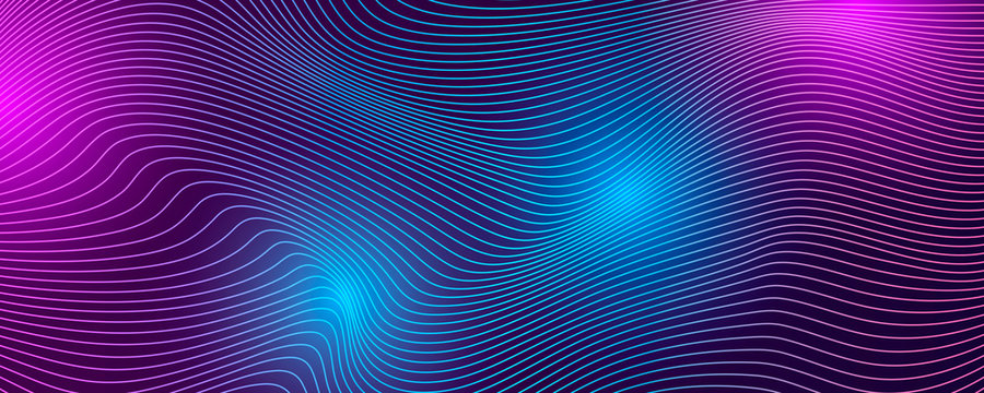Tech background with abstract wave lines.