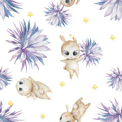 Easter seamless pattern design with bunnies Cute watercolor colorful illustration with blue flowers and bunny on white background. Baby nursery clip art