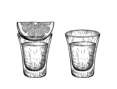 A shot of tequila and a slice of lemon. Vintage vector engraving illustration.