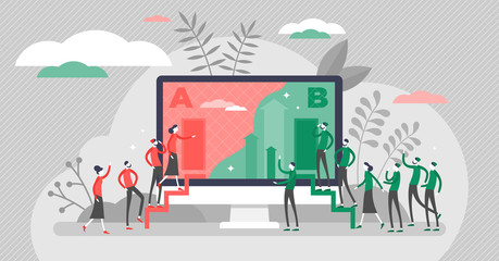 A B split test marketing concept, flat tiny persons vector illustration