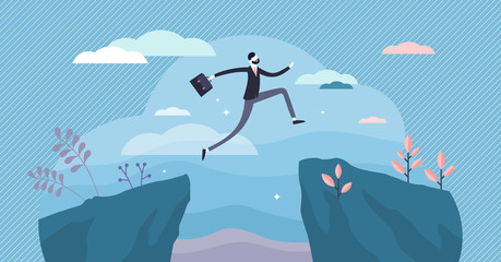 Next big business leap, businessman jumping over a cliff gorge. Flat tiny person vector illustration
