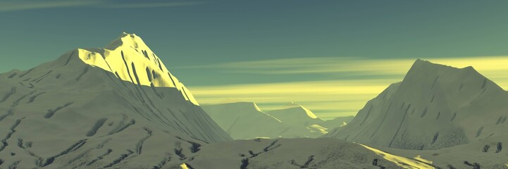Foto op Aluminium Khaki Beautiful mountains in the sunshine, Mountain peaks in the snow among the clouds, panorama of the mountain landscape, 3D rendering