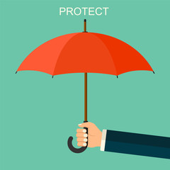 Vector background with hand holding red umbrella. Man's arm with umbrella.  Protection flat style pattern concept.