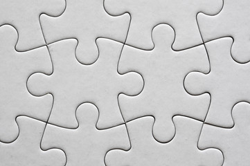 Close up on blank, white jigsaw puzzle texture Fototapete