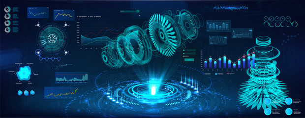 Futuristic Hologram 3d objects, turbine and jet engine. Cad x-ray project. Mechanical scheme HUD style. Dashboard interface future engineering with Modern interface Sky-fi. Vector illustration