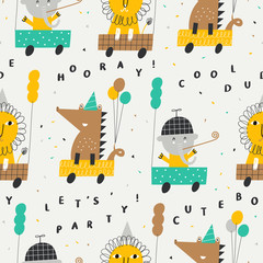 Papiers peints Cartoon voitures Cute seamless pattern with lion, elephant and crocodile in cars. Vector illustration for gift wrapping paper, textile, surface textures, childish design.