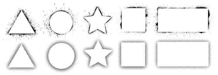 Geometric shapes and frames painted by spray paint, ink splatter texture and stencils border. Shapes triangle, circle, square, rectangle and star. Wall graffiti template and pop art style. Vector set Fotobehang