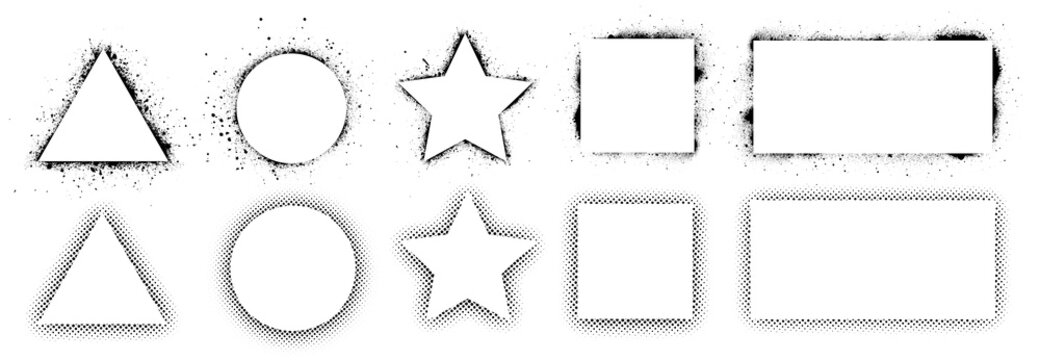 Geometric shapes and frames painted by spray paint, ink splatter texture and stencils border. Shapes triangle, circle, square, rectangle and star. Wall graffiti template and pop art style. Vector set