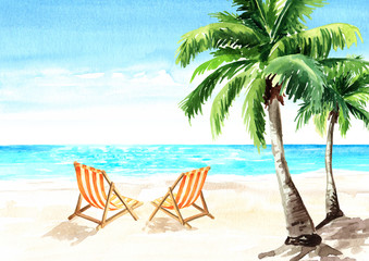 Seascape.Tropical beach with sea, white sand, palms, sun loungers and a beach umbrella, summer vacation concept and background. Hand drawn watercolor illustration